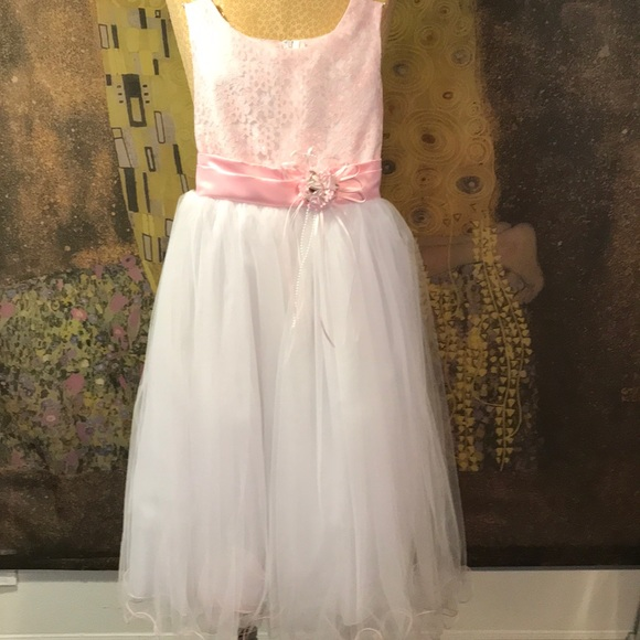 Dresses Young Girl Formal Dress In Pink White Size 8 Poshmark